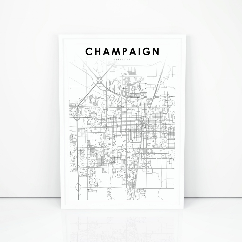 Champaign Map Print Illinois Il Usa Map Art Poster City | Etsy - Printable Map Of Champaign Il