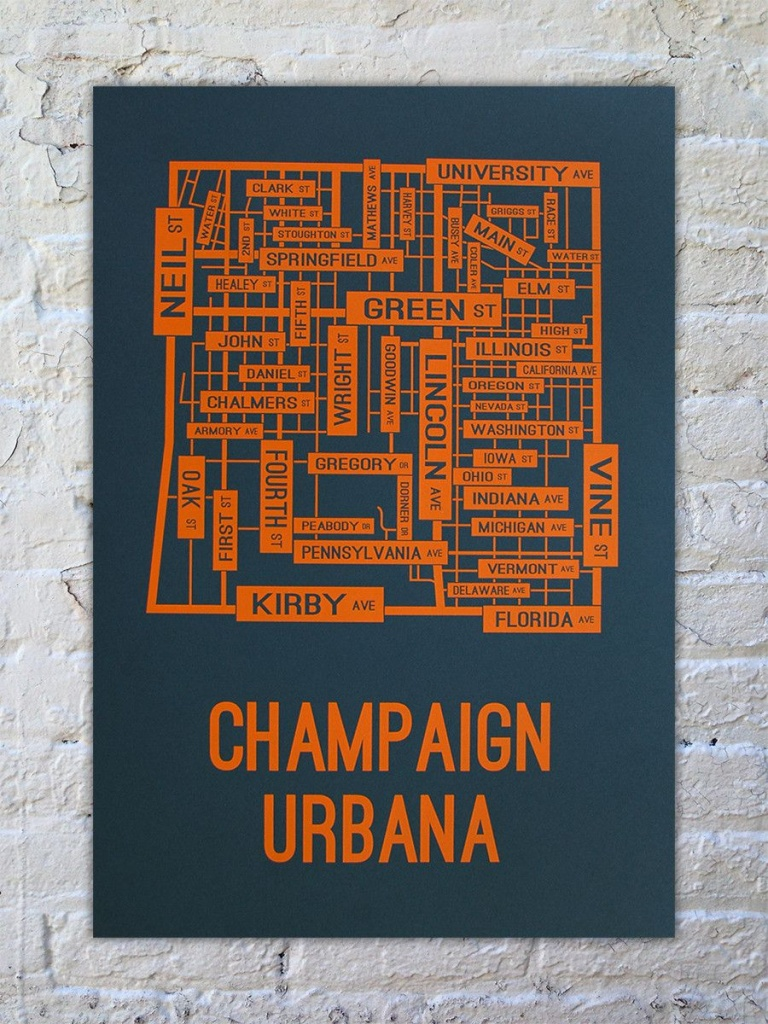 Champaign Urbana, Illinois Street Map Print | Our New House - Printable Map Of Champaign Il