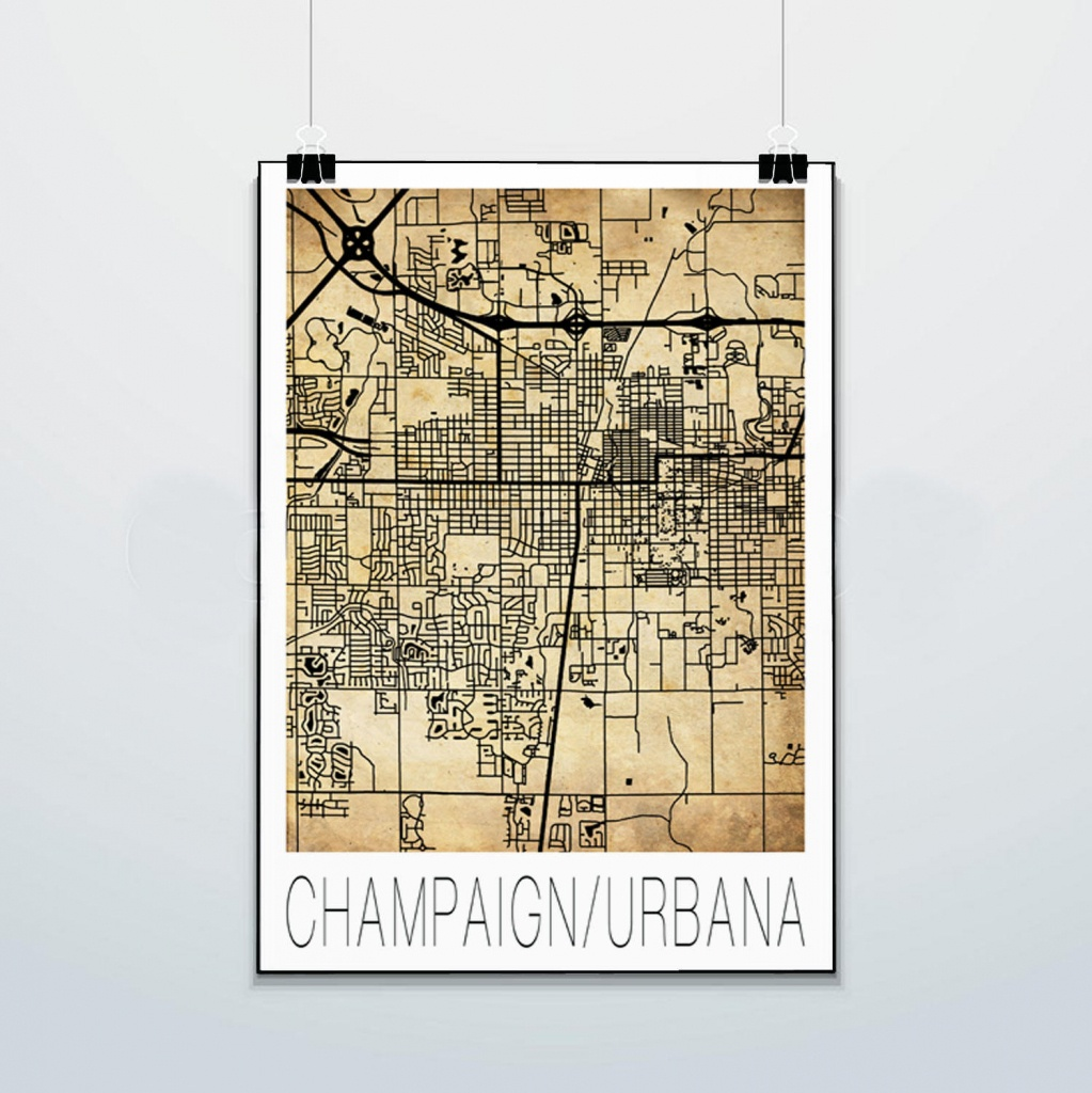 Champaign Urbana Map Print Poster Street Map Illini | Etsy - Printable Map Of Champaign Il