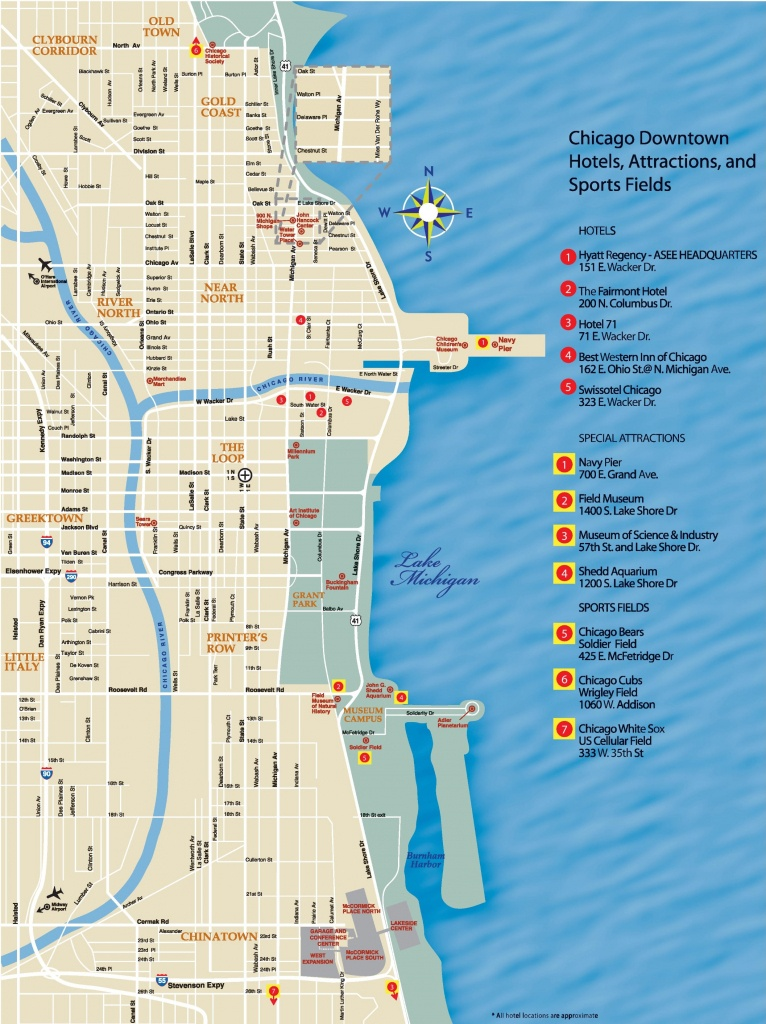 Chicago Downtown Map - Printable Map Of Downtown Chicago Attractions