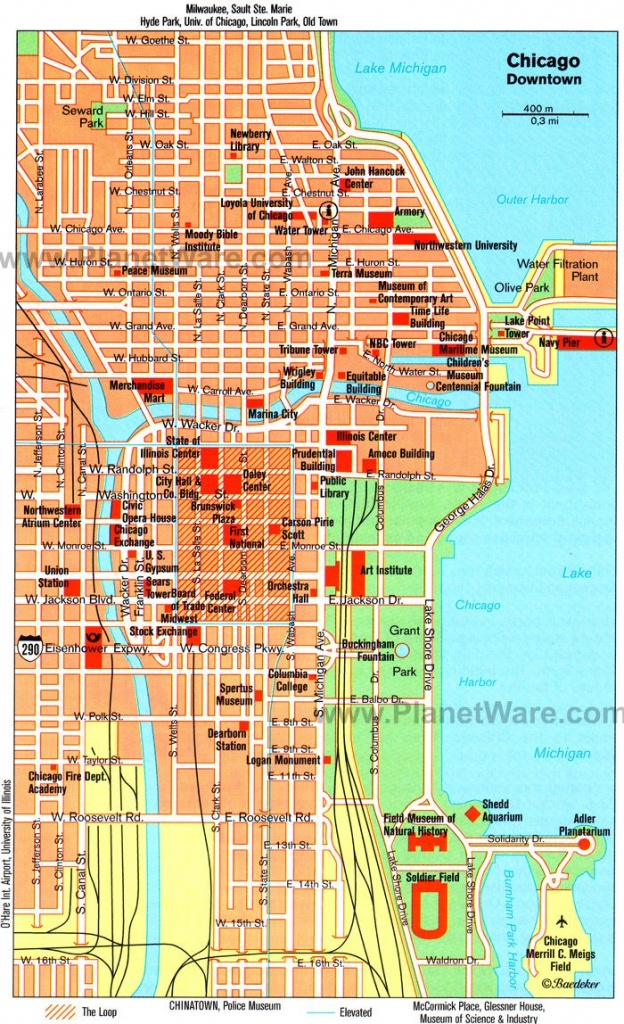 Chicago, Il - Map. Tagged Along On A Friends Business Trip Solo - Magnificent Mile Map Printable