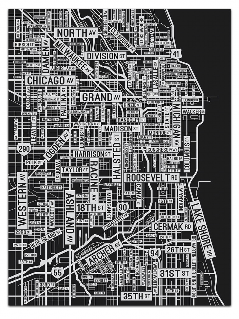 Chicago Illinois Screen Print Where The Buildings | Etsy - Printable Map Of Downtown Chicago Streets