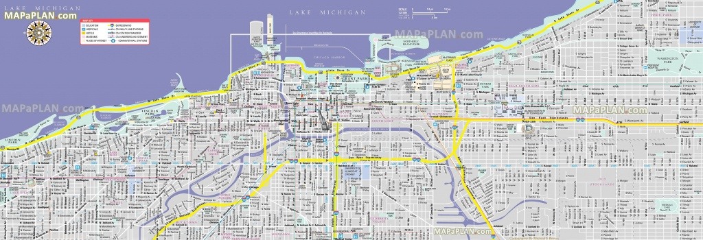 Chicago Maps - Top Tourist Attractions - Free, Printable City Street Map - Magnificent Mile Map Printable