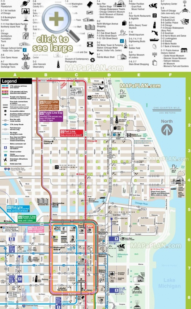 Chicago Maps - Top Tourist Attractions - Free, Printable City Street Map - Printable Map Of Chicago