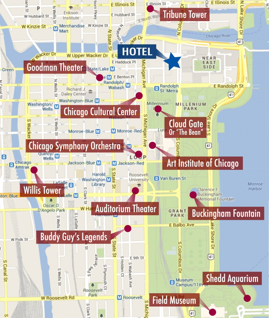 Chicago Tourist Walking Map   Leancy Travel - Map Of Chicago Attractions Printable