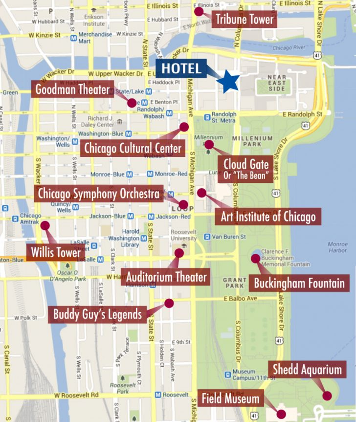 Printable Walking Map Of Downtown Chicago