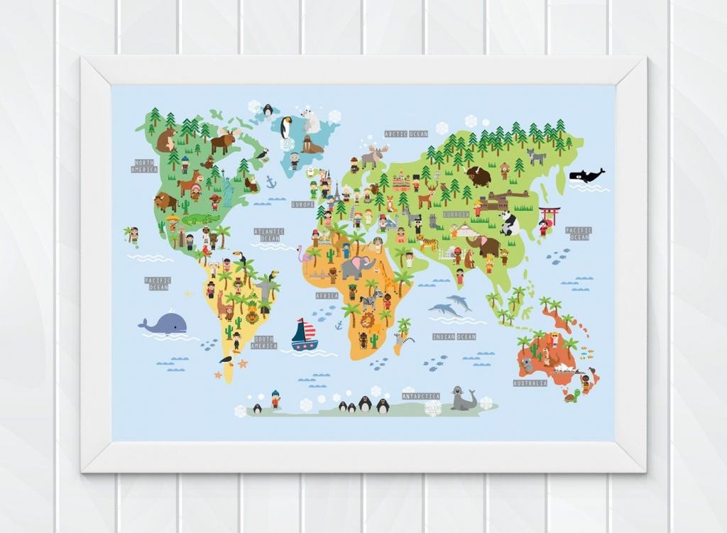 Children's World Map Wall Print, Educational World Map For Kids - World Map Poster Printable