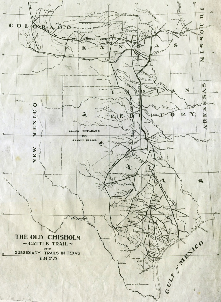 Chisholm Trail - Wikipedia - Texas Cattle Trails Map