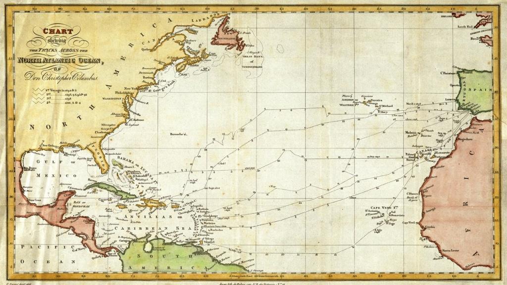 Christopher Columbus Nautical Routes Map (1828) - Youtube - Printable Map Of Christopher Columbus Voyages