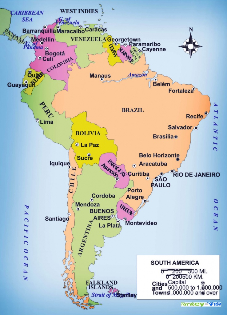 Cities In South America Map - Lgq - Printable Map Of South America With Countries