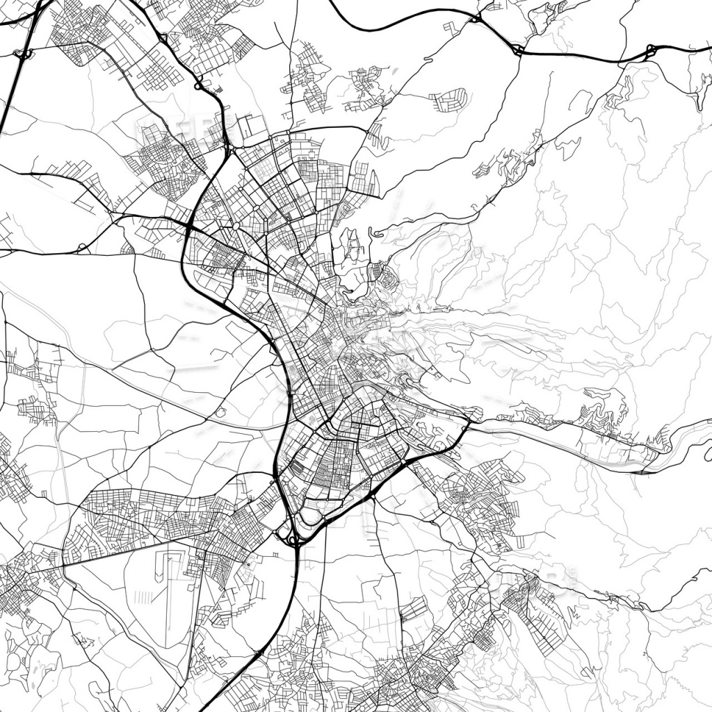 City Map Of Granada, Spain, Light Version | Hebstreits Sketches - Printable Street Map Of Granada Spain
