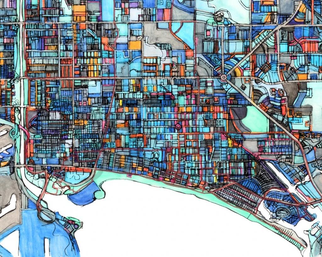 City Neighborhood Print Of Long Beach Ca. Abstract Map Print - Printable Map Of Long Beach Ca