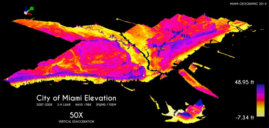 City Of Miami Elevation Exaggerated 50X | Miami Geographic - Florida Elevation Map Above Sea Level