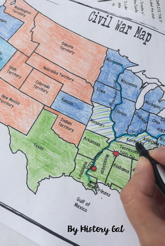 Civil War Map Activity | History Teacher | Map Activities, History - Printable Civil War Map