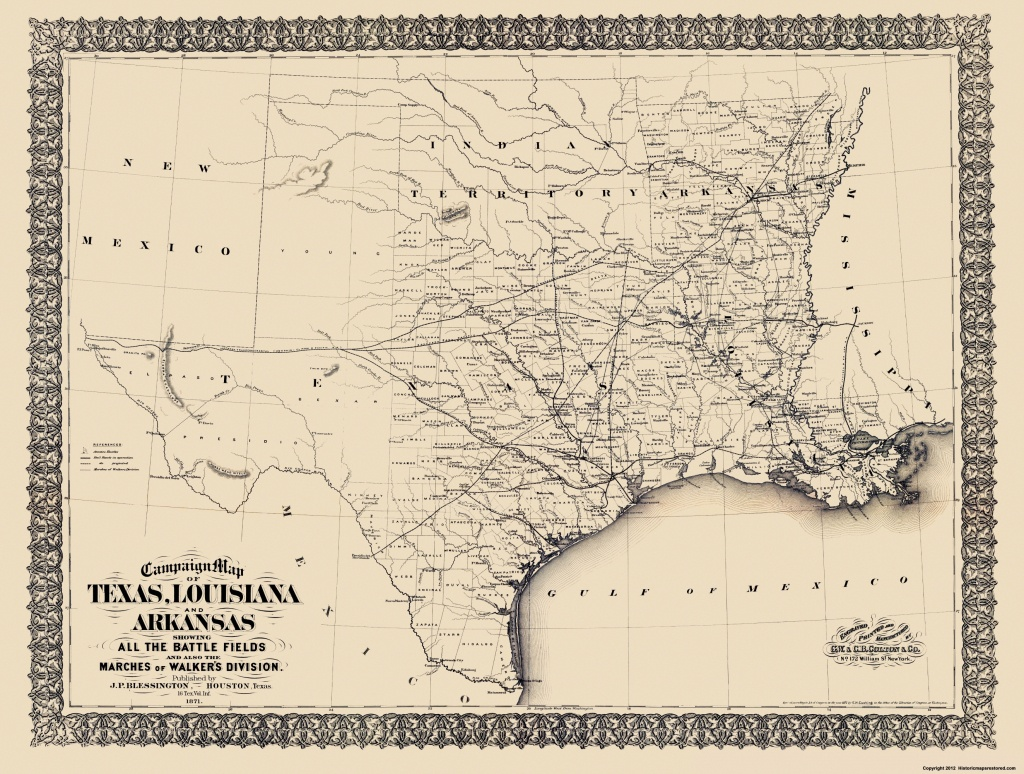 Civil War Map - Texas, Louisiana, & Arkansas 1871 - Civil War In Texas Map