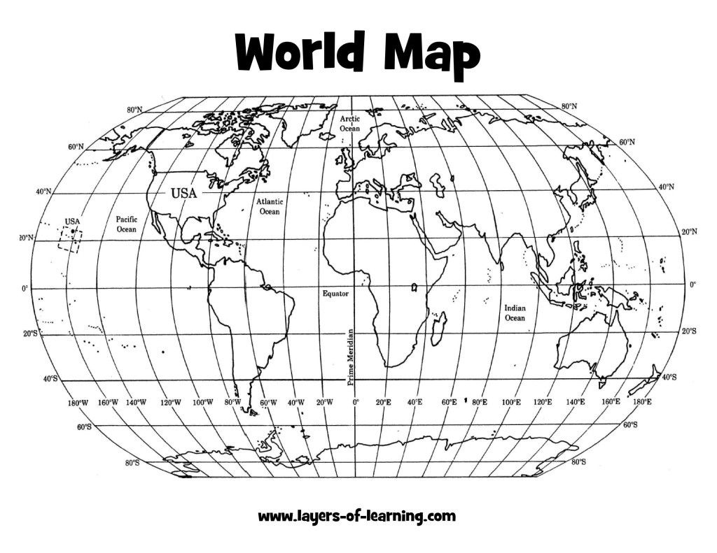 Climate: Latitude And Longitude World Map Grid Layers Of Learning - World Map Latitude Longitude Printable