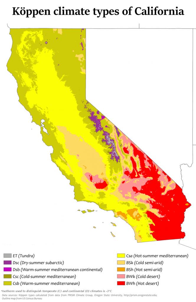 Climate Of California - Wikipedia - Snow Level Map California