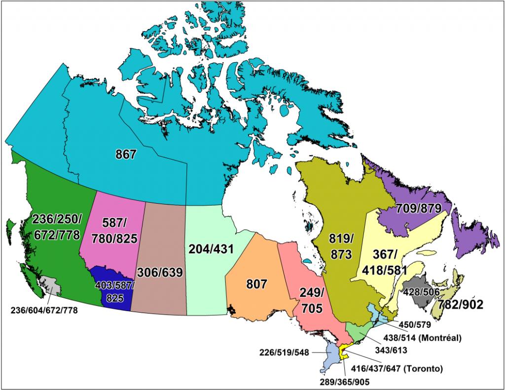 Cna -Canadian Area Code Maps - Printable Area Maps