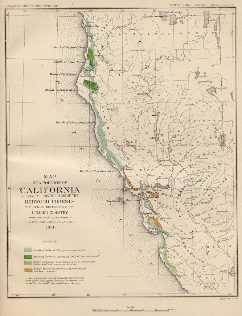 Coast Redwood Range And Biogeography - Redwoods Northern California Map