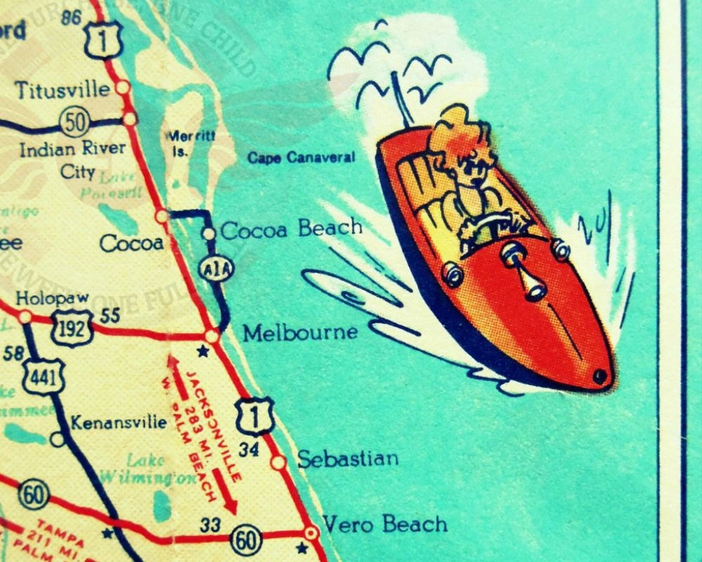 Cocoa Beach Wall Art Vintage Map Print Cocoa Beach Fl Gifts | Etsy - Coco Beach Florida Map