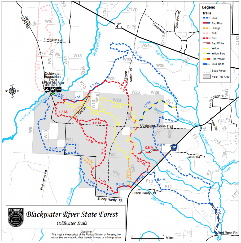 Coldwater Recreation Area - Trailmeister - Coldwater Creek Florida Map