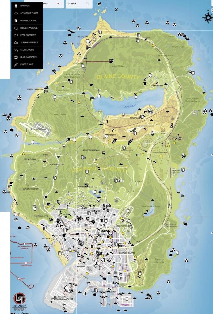 Collectibles Map Detailed Format - Gta V - Gtaforums - Gta 5 Printable Map