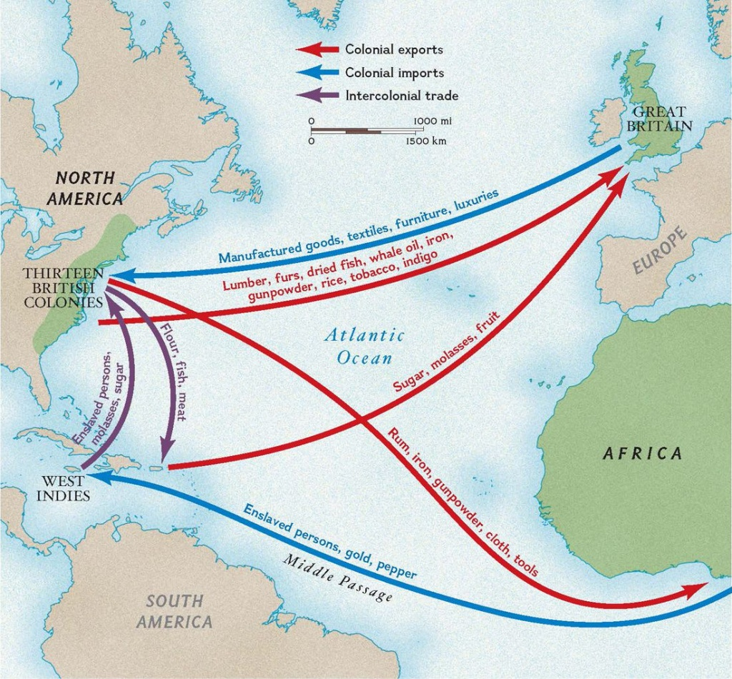 Colonial Trade Routes And Goods | National Geographic Society - Printable Map Of The 13 Colonies With Names