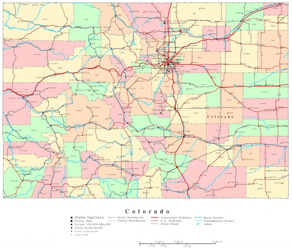 Colorado Printable Map - Printable Map Of Colorado Springs