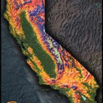 Colorful California Map | Topographical Physical Landscape   3D Map Of California