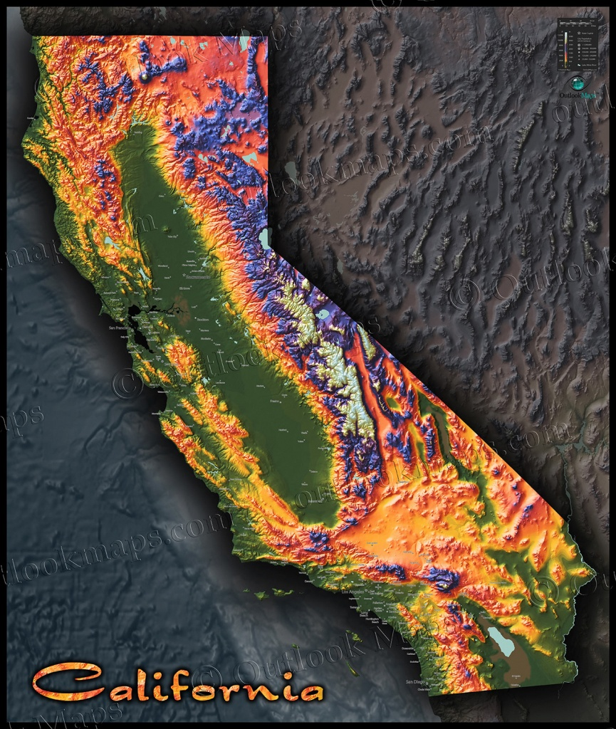 Colorful California Map | Topographical Physical Landscape - California Terrain Map