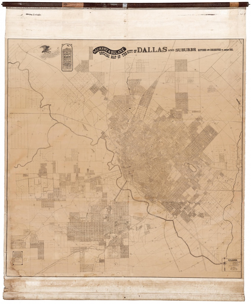 Colossal And Unrecorded Wall Map Of Dallas, Texas - Texas Wall Map