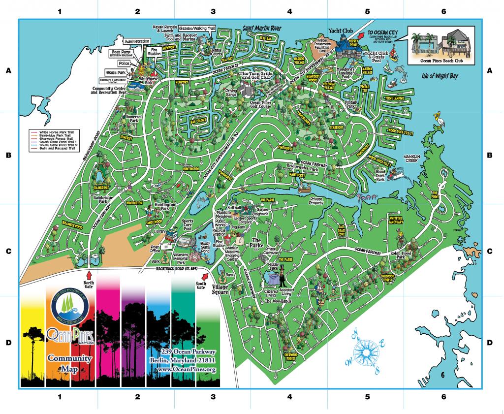 Community Map   Ocean Pines Association   Md - Printable Street Map Ocean City Nj