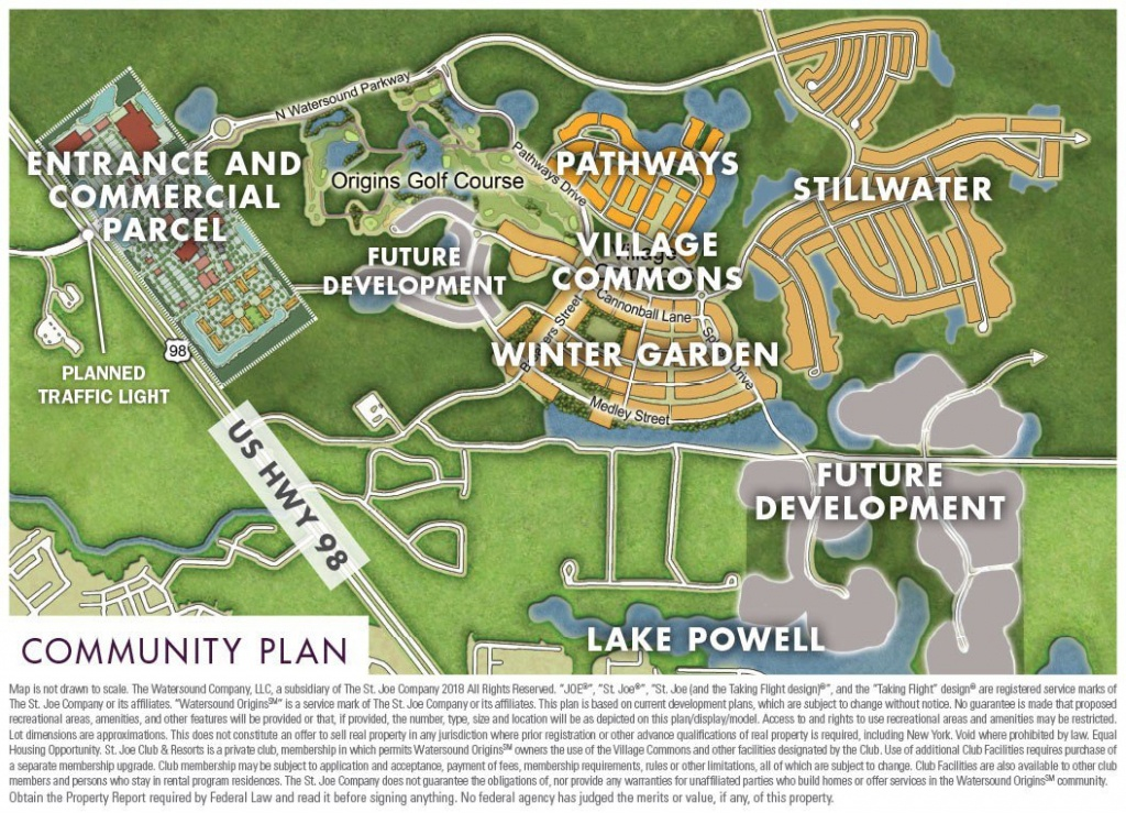 Community Maps - Watersound Origins - Beaches Of South Walton - Watersound Florida Map