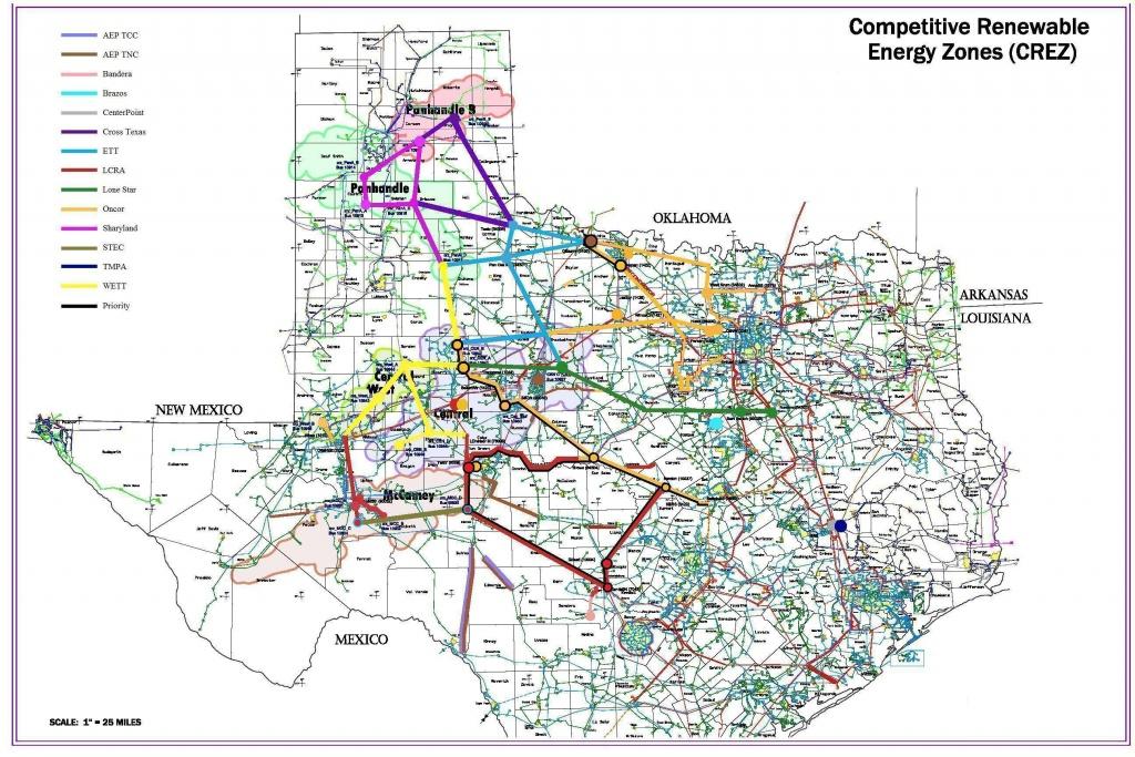 Competitive Renewable Energy Zones (Crez) - Electric Transmission - Electric Transmission Lines Map Texas