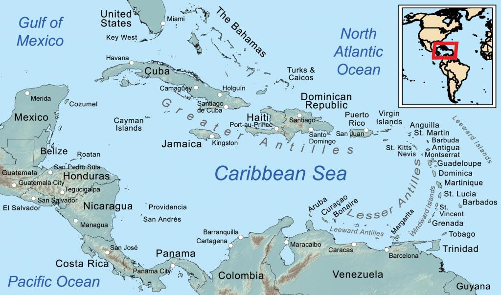 Comprehensive Map Of The Caribbean Sea And Islands - Printable Map Of St Simons Island Ga