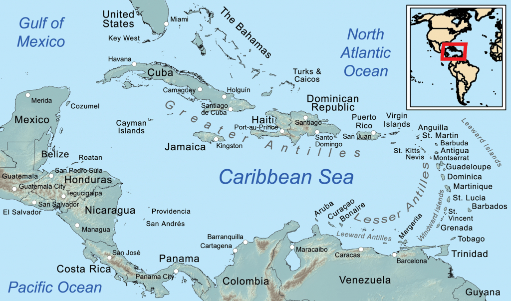 Comprehensive Map Of The Caribbean Sea And Islands - Printable Map Of The Caribbean