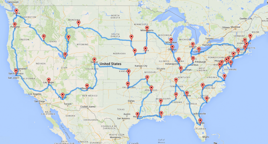 Computing The Optimal Road Trip Across The U.s. | Dr. Randal S. Olson - California To Florida Road Trip Map