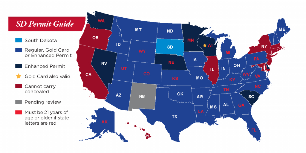 Concealed Pistol Permits: South Dakota Secretary Of State - Texas Reciprocity Map 2017