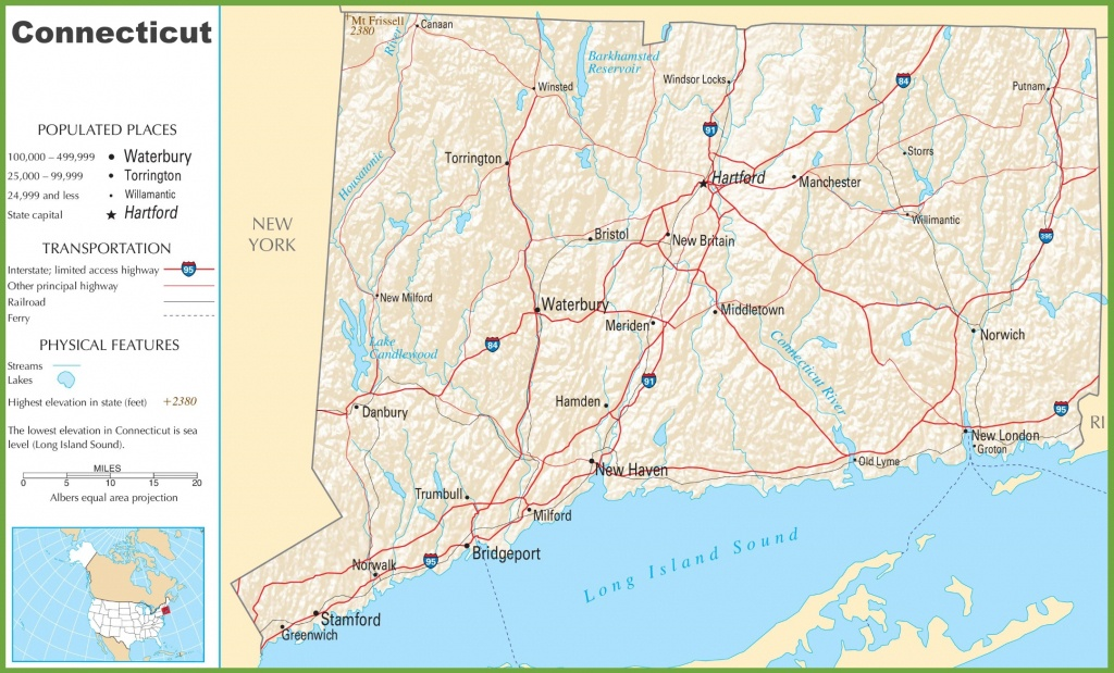 Connecticut Highway Map - Printable Map Of Connecticut