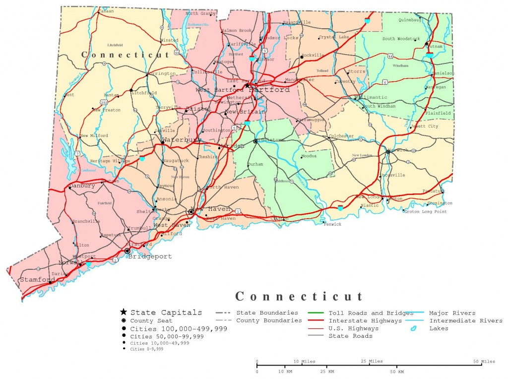 Connecticut Printable Map - Printable Map Of Connecticut