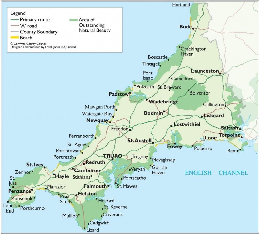 Cornwall Map - Cornwall England Uk • Mappery | Genealogy: England In - Printable Map Of Cornwall