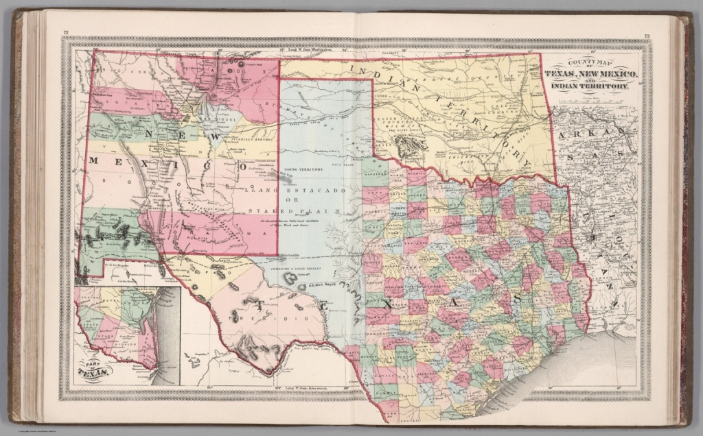 County Map Of Texas, New Mexico, And Indian Territory - David Rumsey - Map Of New Mexico And Texas