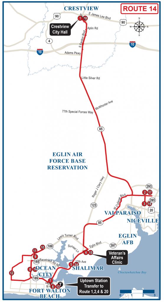 Crestview / Fwb Wave Express Route 14 - Ec Rider - Ft Walton Florida Map
