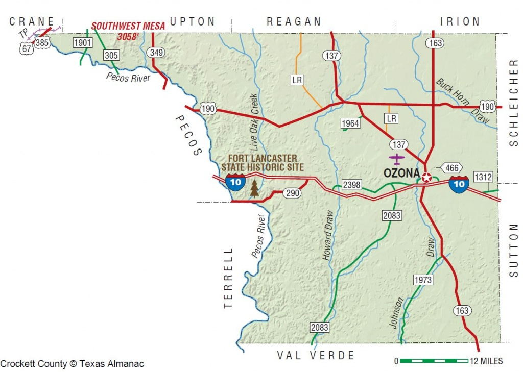 Crockett County   The Handbook Of Texas Online  Texas State - Ozona Texas Map
