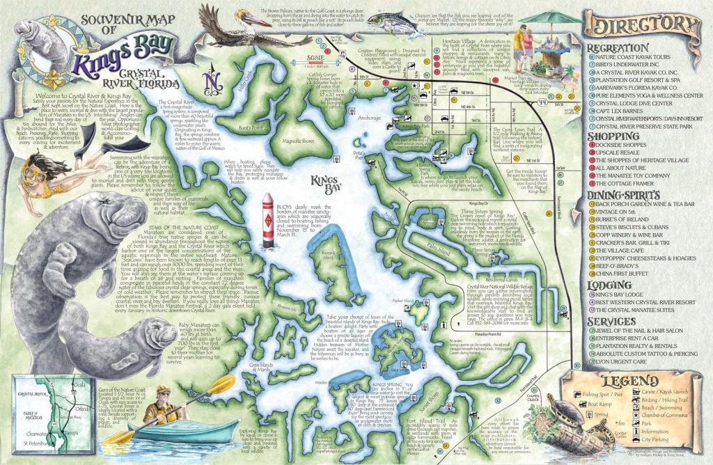 Crystal River's Spring Maps | The Souvenir Map & Guide Of Kings Bay - Florida Springs Diving Map