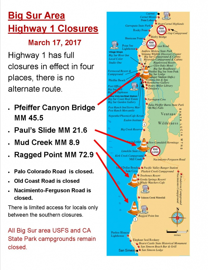 Current Big Sur Highway 1 Closures | Big Sur California - California Road Closures Map