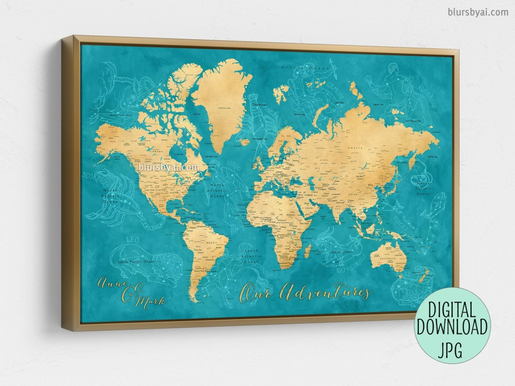 Custom Quote - Gold And Teal Watercolor Printable World Map With - Custom Printable Maps