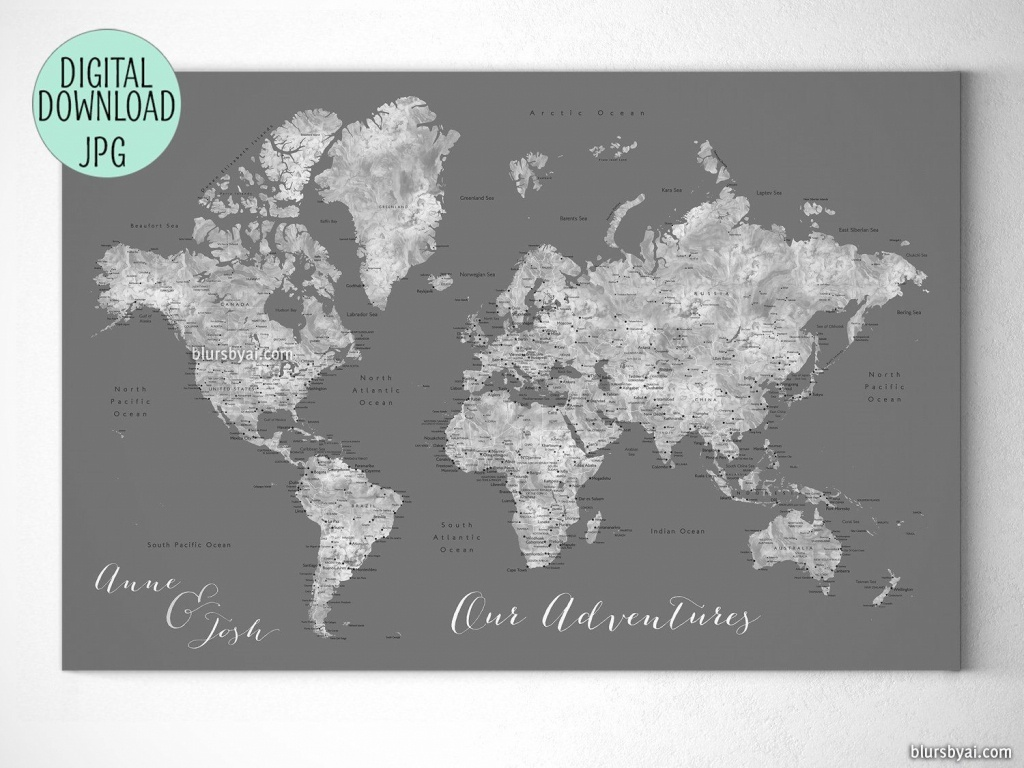Custom Quote Printable Gray World Map With Cities, Capitals - Custom Printable Maps