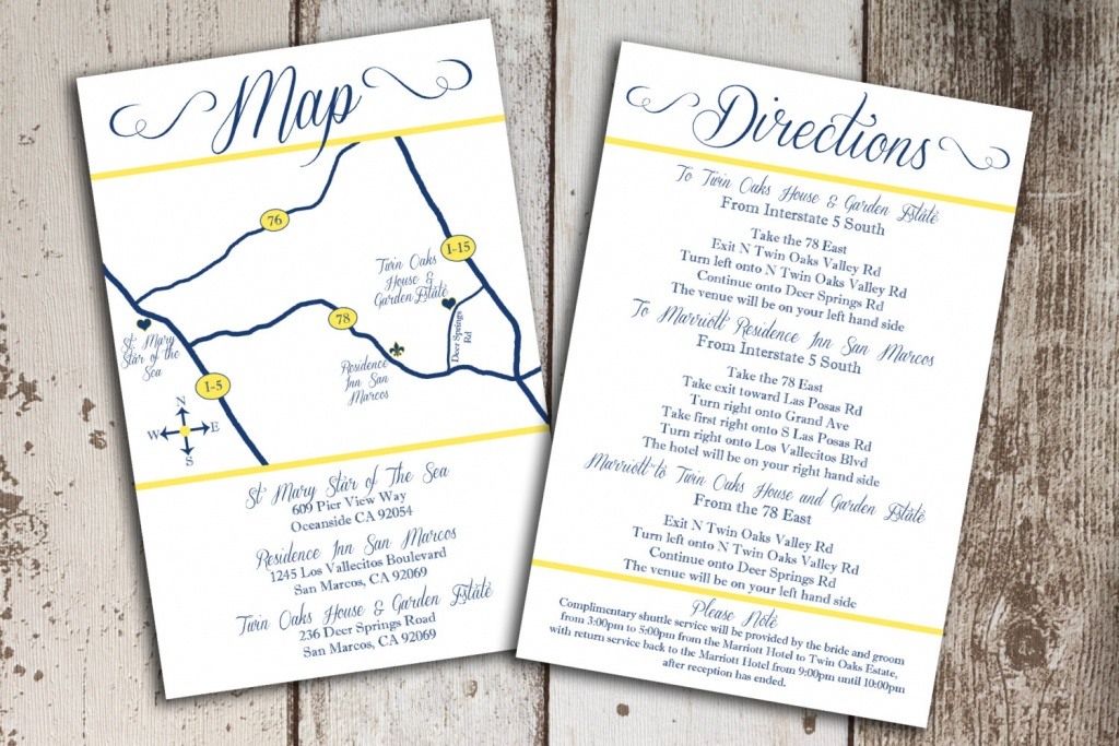 Custom Wedding Map And Direction Invitation Insert Printable File - Printable Maps For Invitations