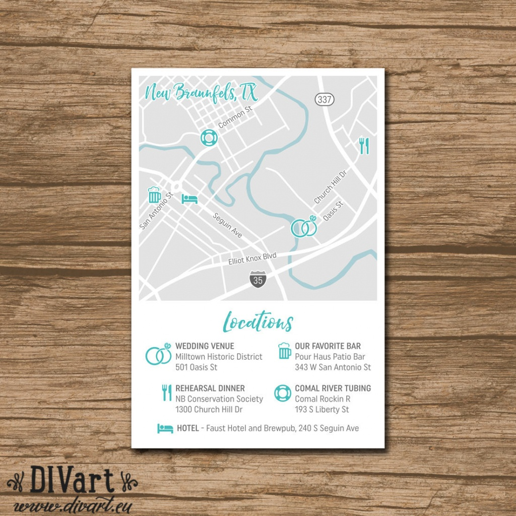Custom Wedding Map Event Map Directions Locations | Etsy - Printable Map Directions For Invitations